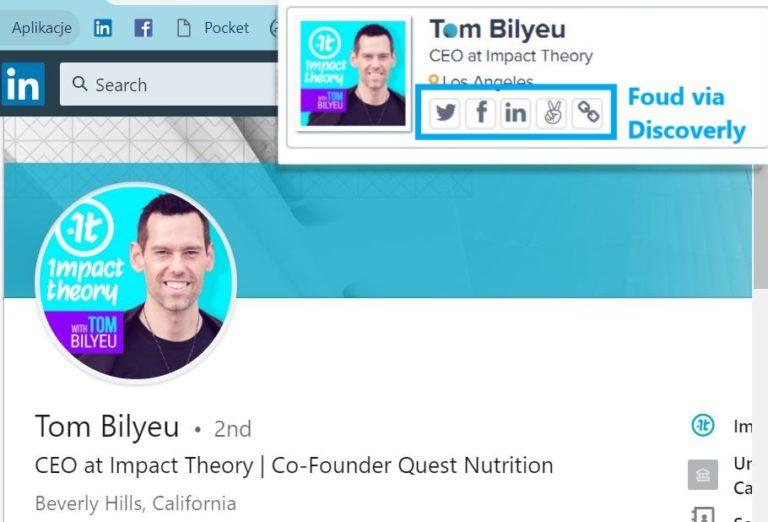 Tom Bilyeu on LinkedIn. Impact Theory LinkedIn. Discoverly app.  Doris In Social Media. Imię na LinkedIn.
